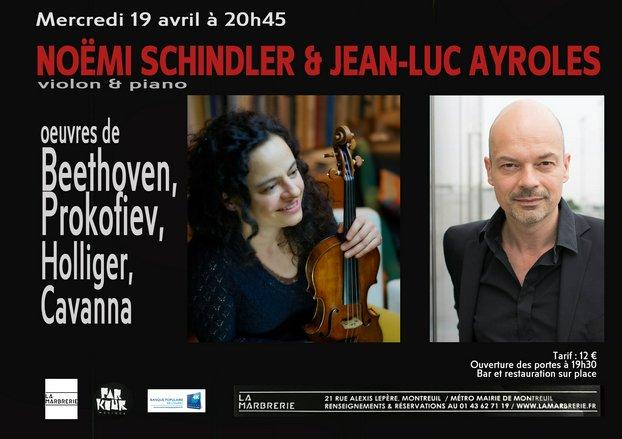 """""""En ré"""" pour violon et piano 19 avril - 20h45"""